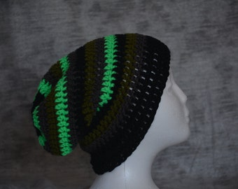 Striped crocheted slouchy beanie hat (black, green, gray)