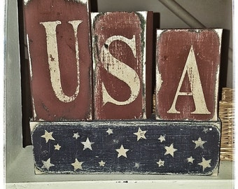 4 pc. Wooden Americana Block Set-Americana Decor-Americana Block Set-Primitive Decor-Primitive Home Decor-USA Americana Decor-Americana