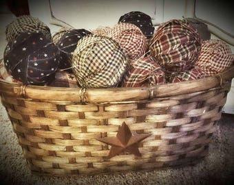 Handmade Home Spun Rag Balls 12pc set | Americana | bowl filler Décor | bowl filler | Rag Balls | Primitive Décor Hanger | bowl filler|