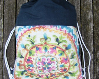 gym bag - backpack - grey-colorful cheerful