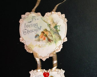 Two Valentine Heart Pendants, Antique Chromo's