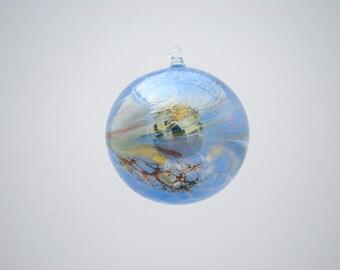 Handmade Soft Blue Glass Ornament