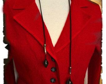 Necklace-Black Lace adjustable doeskin.  Sheet leather.