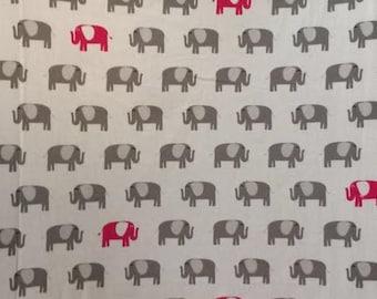 Gray & Pink Elephant Crib sheet