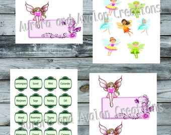 Set of 4 Fairy themed stickers