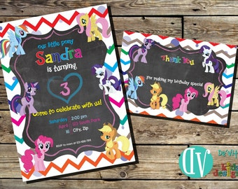 Little Pony Birthday Invitation Printable  5x7 or 4x6 and FREE Thank You Card Printable 5x3.5