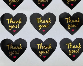 "40 PCS ""Thank you"" sticker Black Heart, Seals, Scrapbooking, Scrapbook Supplies, Stationary, Paper, Paper Stickers, Stickers, Paper Supplies"