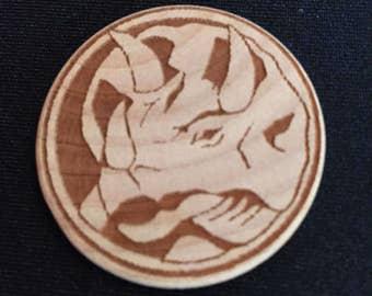 Power Rangers Blue Ranger Triceratops Engraved Birch Wooden Power Coin