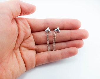 Small Triangle Sterling Silver Chain Earrings