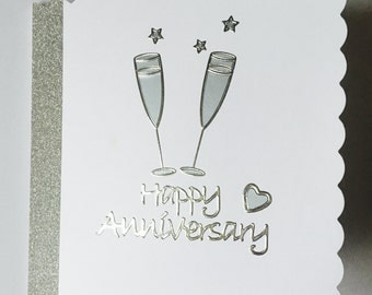 Handmade Happy Anniversary Card with Silver Champagne Flutes, Cards for Everyone, Special Occasion, Prosecco Themed Card