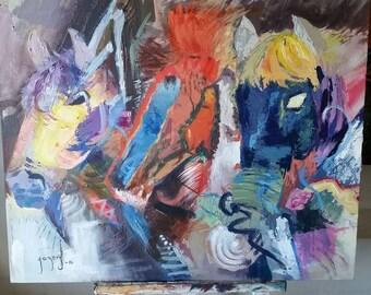 Acrylic horses painting 24x36