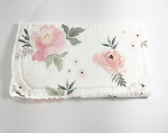 Floral Burp Cloths - Rose Burp Cloth - Pink Rose Burp Cloth -  Baby Shower Gift - Baby Girl - Watercolor Floral - Blush Rose Burp Cloths