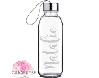 Personalized Etched Glass Water Bottle/Personalized Glass/ Workout Water Bottle/ Etched Bottle/Glass Bottle/Name on Bottle