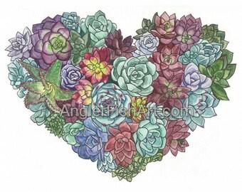 "I Heart Succulents 8x10"" Matted Giclée Print"