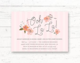 Parisian Eiffel Tower Baby Shower Printable Invitation, Bebe, French, Paris, Pink Custom Printable Invite