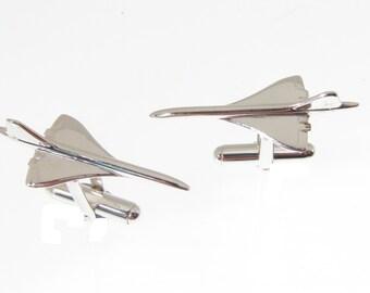 Hallmarked Silver Concorde Jet Cufflinks