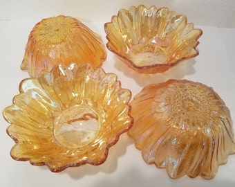 Carnival by Indiana Glass Lily Pons Amber Set of 4 Bowls