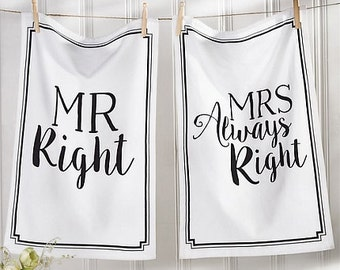Mr and Mrs. Right Hand Towels