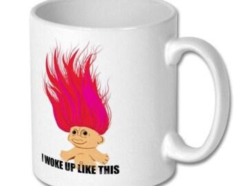 "Retro troll ceramic mug ""i woke up like this "" 325ml white"