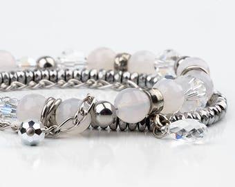 White multi strand bracelet, swarovski crystal, stainless steel