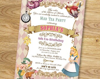 Alice In Wonderland Birthday Party Invitation // Digital File Only