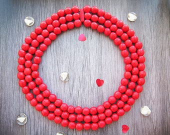 Housewarming gift Vintage coral necklace red coral necklace red wood necklace red wedding chunky necklace Red bead necklace tribal necklace