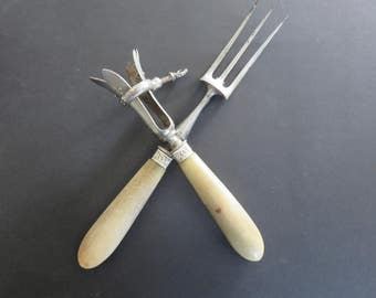 Meat & Horn Forks - 40's - Vintage - French Cuisine - Corn; Stainless steel; Silver plated