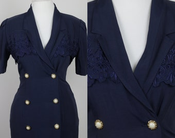 Perfect 80's Navy Blue 1940's inspired dress