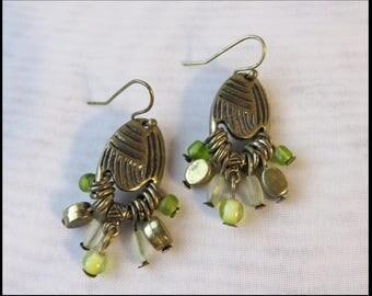 Vintage GREEN GLASS BEAD Earrings Pierced EARRiNGS Peridot Earrings by BrowseMyVintageShop
