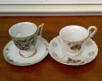 20% off Very Nice Lot of 2 Tea Cup and Saucer Set // Tea Party Set // Balloon Flower // Flower Rose Teacup // Shafford