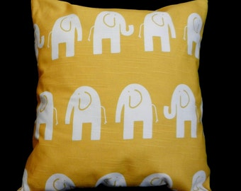 Pillow Cover 18 x 18, Yellow with White Elephants