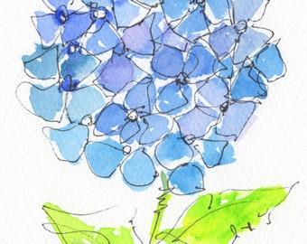 Blue Hydrangea Flower Original watercolor painting 7x5 inch