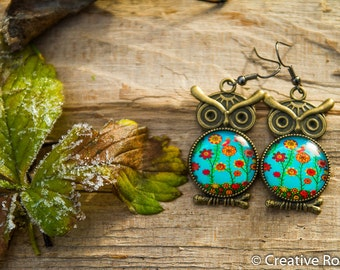 Resin Earrings with Owl - Flower Theme