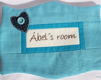 Embroidered name-plate door decor