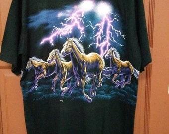 "Sale !!! Sale !!! Rare ""Habitat"" shirt horse cowboy western thunder big picture full print"