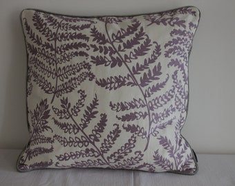 """Cushion Cover  19"""" x 19"""" (20"""" Pad) Fabric Wild Fern & Paris by Clarke and Clarke in White, Pewter and Lilac"""