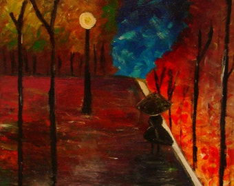 """The Walk, Abstract Acrylic Painting, 16""""x20"""", Original on Canvas"""