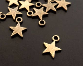 4 Bronze Star Charms   Small Star Charm   Bronze Star Pendant   Star Charm   Jewelry Making Supplies   Ready to Ship from USA   BR059-4
