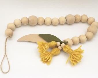 Flower Garland - Blossom Garland - Beaded Garland - Nursery decor - Australian flora - Wooden Bead Garland - Wool tassel garland