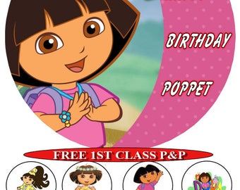 Dora The Explorer personalised cake top icing sheet 15cm 18cm or 20cm with 8 cupcake toppers