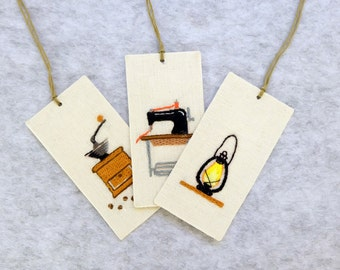 old article | oil lamp | sewing machine | coffee grind machine | bookmark | hand embroidery bookmark | embroidery gift | handcraft