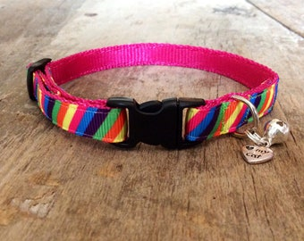 Rainbow candy stripe cat collar - cute for summer