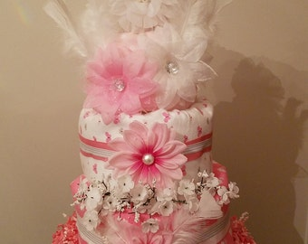 baby girl, pink and white,flowers and feathers diaper cake
