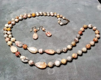 "Picture Jasper Necklace 26"" and Earrings"
