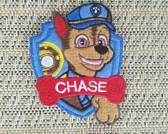 Chase inspired iron on patch, Paw Patrol iron on patch inspired