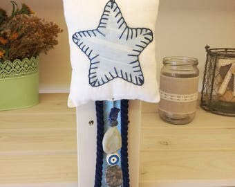 Baby Lucky Charm/Evil Eye Protection/Linen Fabric Star/Newborn Gift /Baptism Gift/Baby Gift/Baby Shower Gift/Nursery Room Decoration