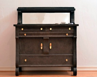 Leather-wrapped Antique Buffet in Chocolate Deertan