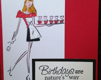 "Handmade Female chef ""Cupcake Strut"" Birthday card"