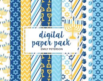 Happy Hanukkah, Dreidel, Jewish - Cute Background, Digital Papers - Commercial Use, Instant Download