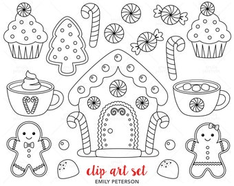 Gingerbread House, Gingerbread Man, Candy - Cute Digital Stamps, Line Art  - Commercial Use, Instant Download